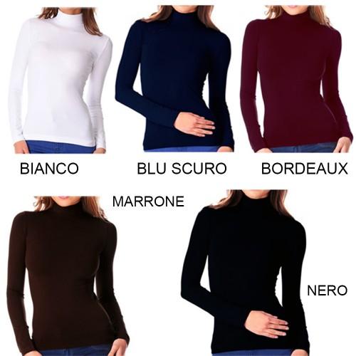 3x o 6x maglia collo alto lupetto aderente maniche lunghe leggermente  felpato colori assortiti LC6567B 28a17d402619