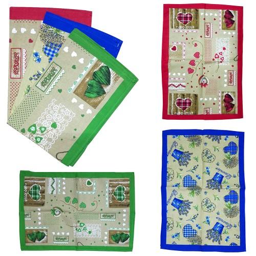 da cucina in cotone panama divisi in 3 fantasie di colore Set 12 pezzi