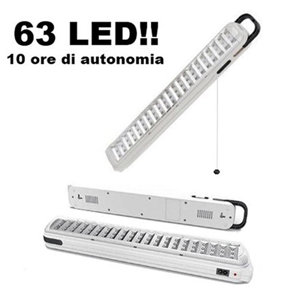 Lampada Led Lunga.Lampada D Emergenza Con 63 Led Ricaricabile Portatile Lunga Durata Luce Bianca Led 715
