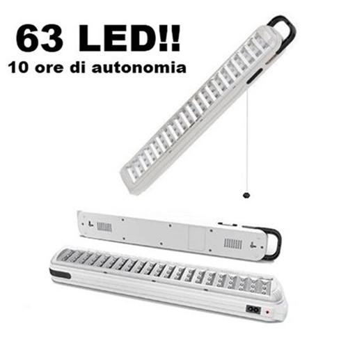 Lampada d 39 emergenza con 63 led ricaricabile portatile for Lampada led lunga