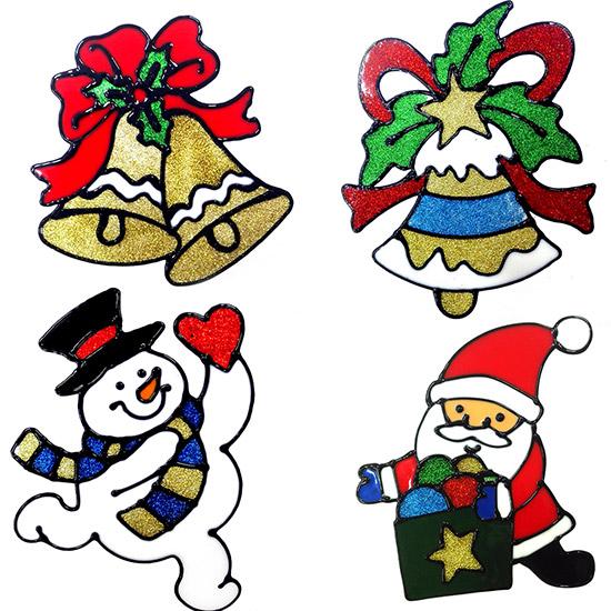Adesivi natalizi in silicone 6 pezzi babbo natale pupazzo - Adesivi finestre natale ...