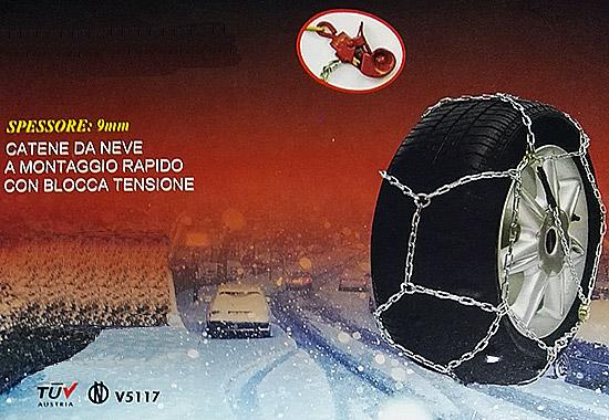 CATENE DA NEVE 9mm OMOLOGATE V5117 /& TÜV CON VALIGETTA GRUPPO 40 CN040