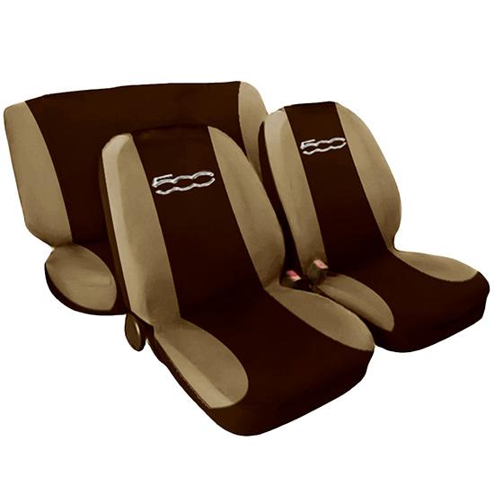 sitzbez ge fiat 500 neu schonbez ge auto zweifarbig braun. Black Bedroom Furniture Sets. Home Design Ideas