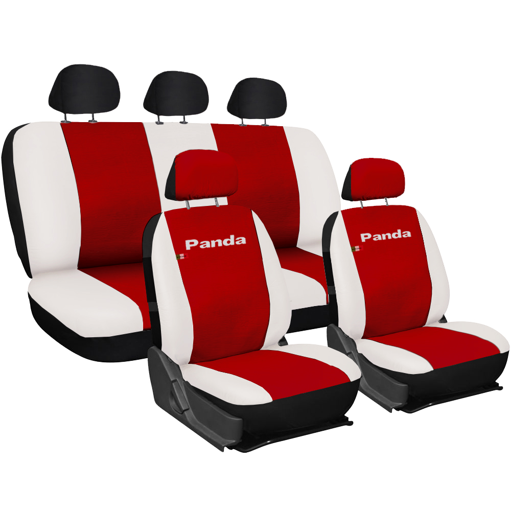 Seat Covers Leather Full Rear Fiat Panda Red White