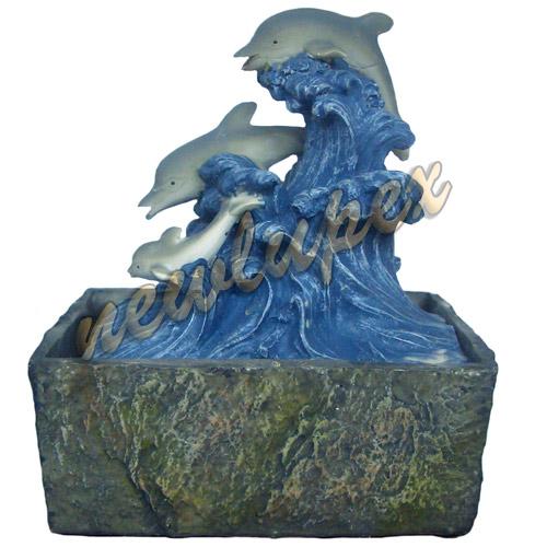 Fontana zen in resina 3 delfini onde idea regalo lupex ebay for Fontana zen