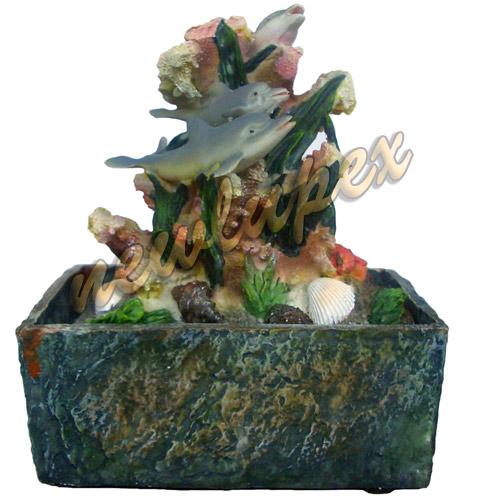 Fontana zen in resina delfini corallo idea regalo lupex ebay for Fontana zen