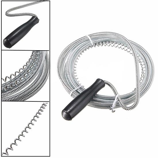 Stura lavandino a spirale sonda a molla pulizia tubi 3 metri acciaio scarico wc ebay - Lavandino cucina otturato ...
