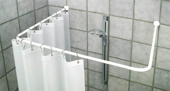 Bastone per tenda doccia 90x90x90 cm bastone bianco for Bastone reggitenda per doccia