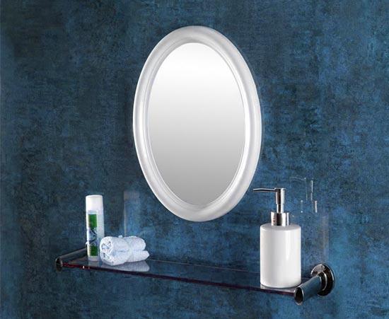 Specchio in vetro con bordo in plastica bianca forma ovale - Specchio cornice bianca ...
